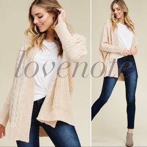 LAST Cozy Cable Knit Sweater Cardigan Long Sleeve